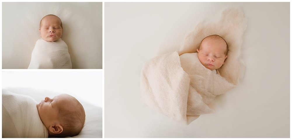 little baby boy details in moorestown new jersey photo studio wearing a cream wrap and cream felt