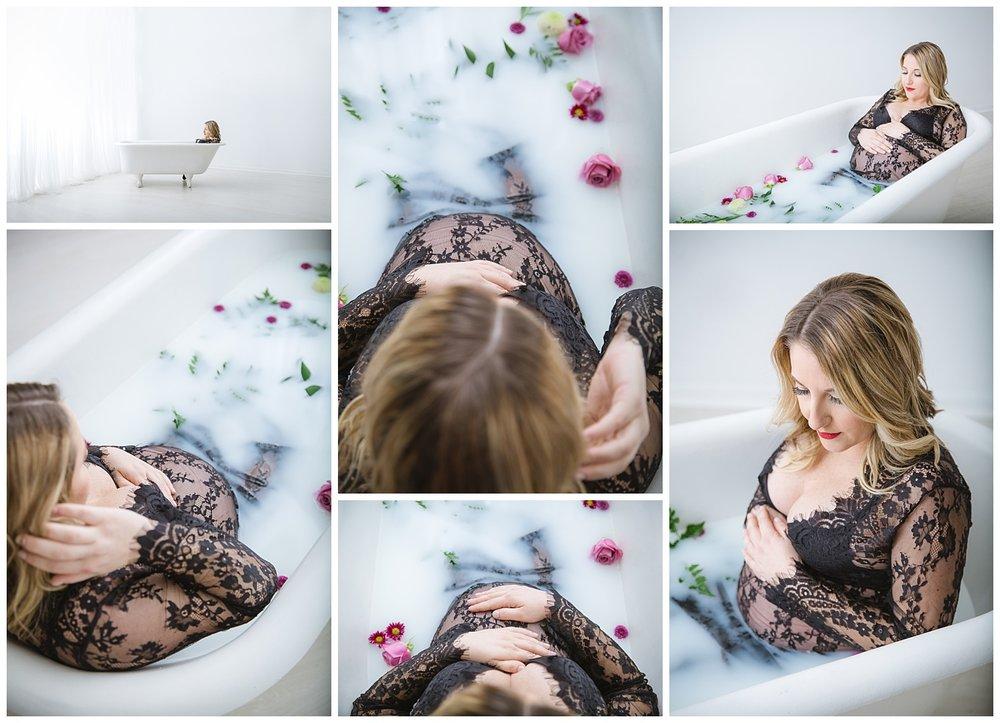 Burlington New Jersey in studio maternity milk bath photo shoot