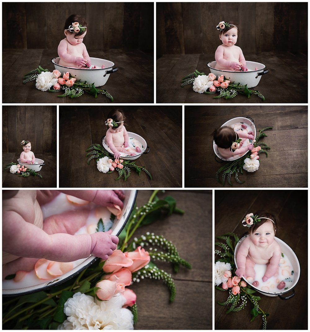 baby girl surrounded by fresh flowers for her milk bath session in south jersey photography studio
