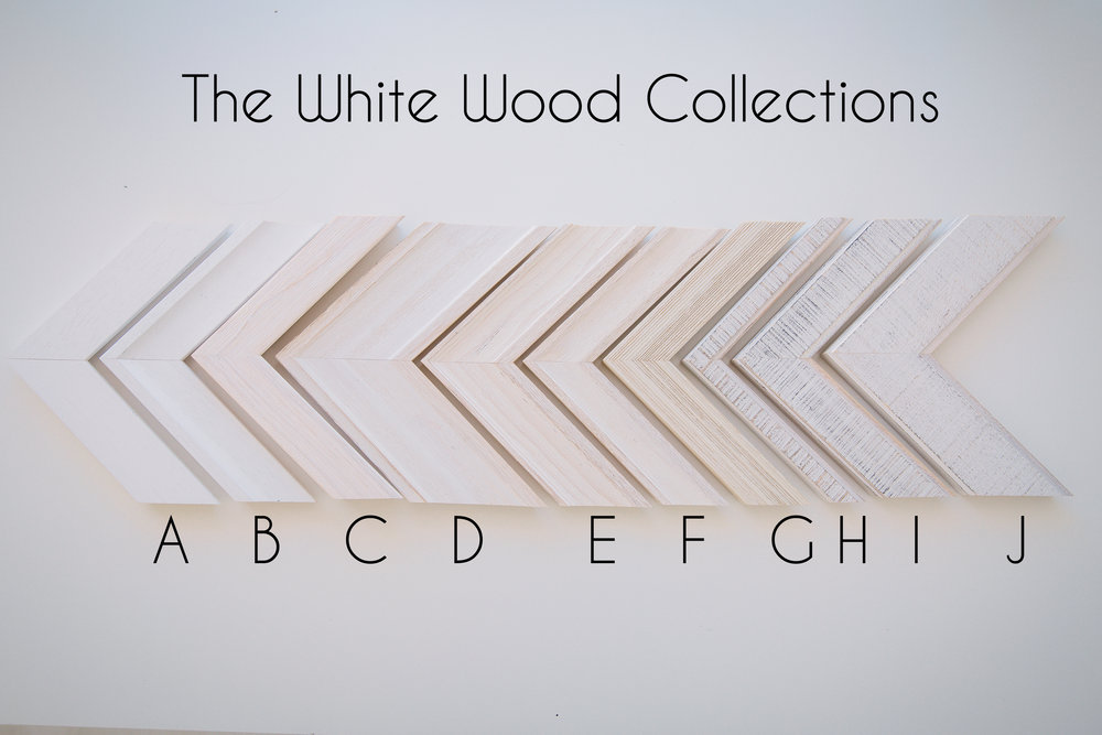 The white wood collection is the most popular white and cream frame corners.