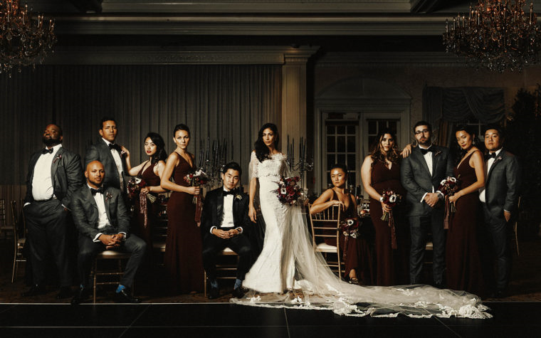 wedding party group photo at the crystal tea room in philadelphia by twisted oaks studio