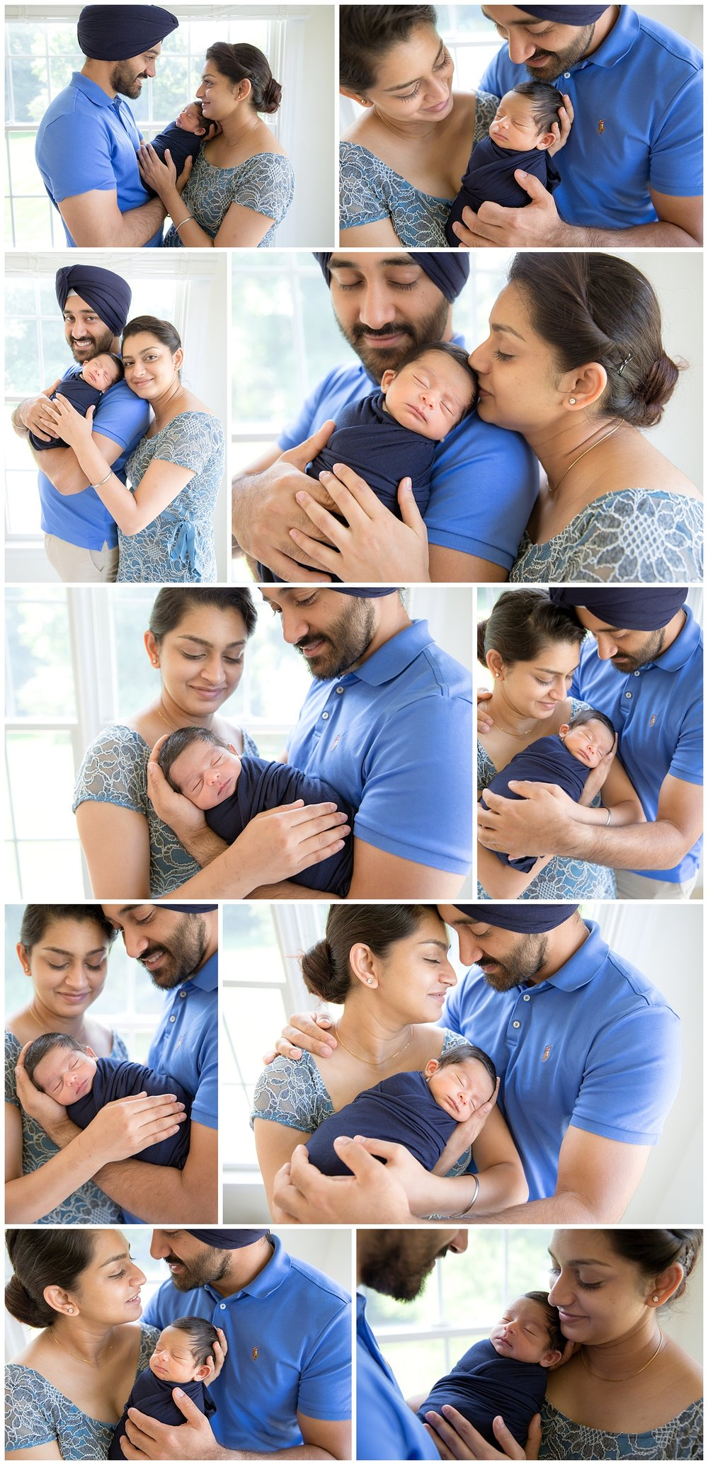 New mom and dad wearing blue and holding their little boy in their Voorhees home for their newborn session