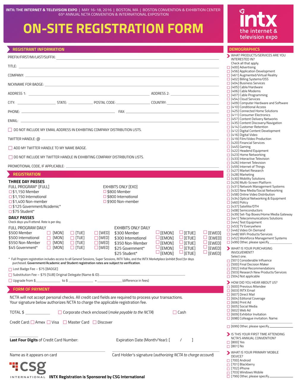 INTX 2016 Registration Form NCTA 2016