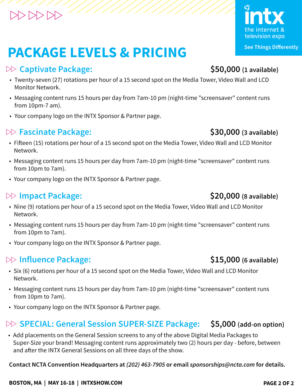 INTX 2016 Digital Media Sponsorship Brochure 2 Page Promotional Flyer