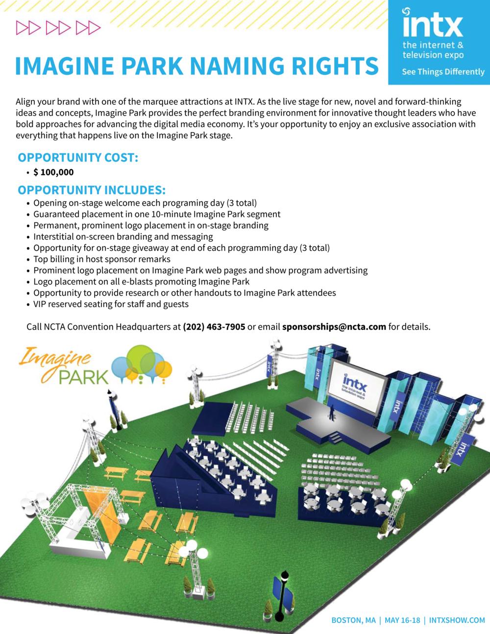Sponsorship Brochure - Imagine Park 2016 NCTA