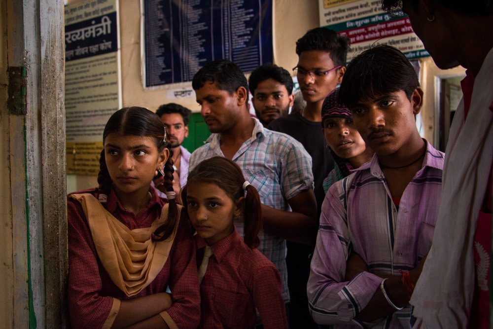 Patients waiting for their check-ups at a PHC in a village roughly 30km outside of Jaipur.