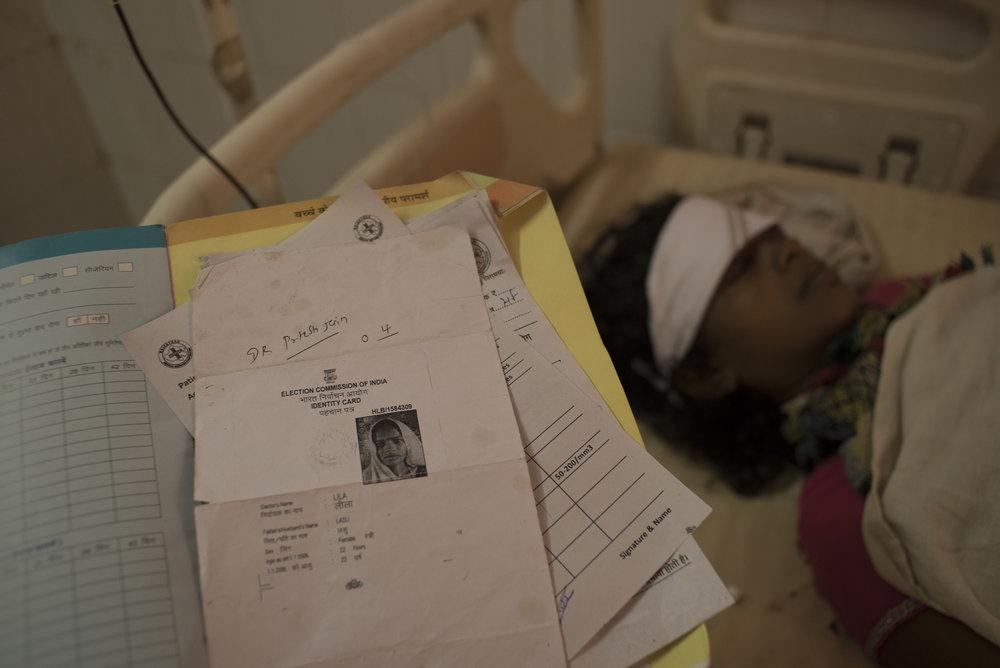 Lila Lasu receiving life-saving treatment.