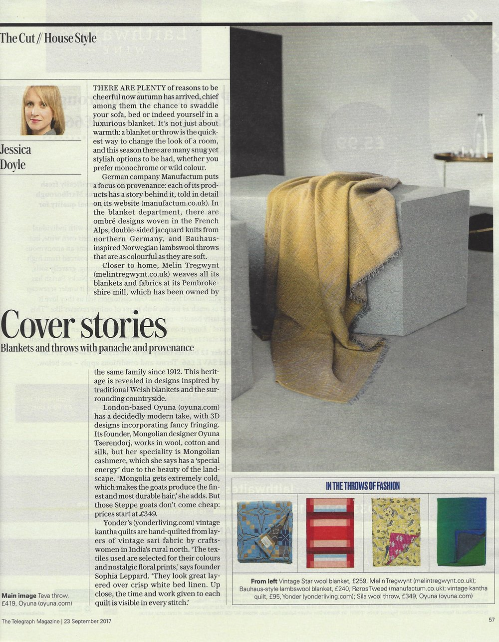 - OYUNA Teva and Sila Cashmere Throws featured in The Telegraph Magazine's Cover Stories Editorial.By Jessica Doyle