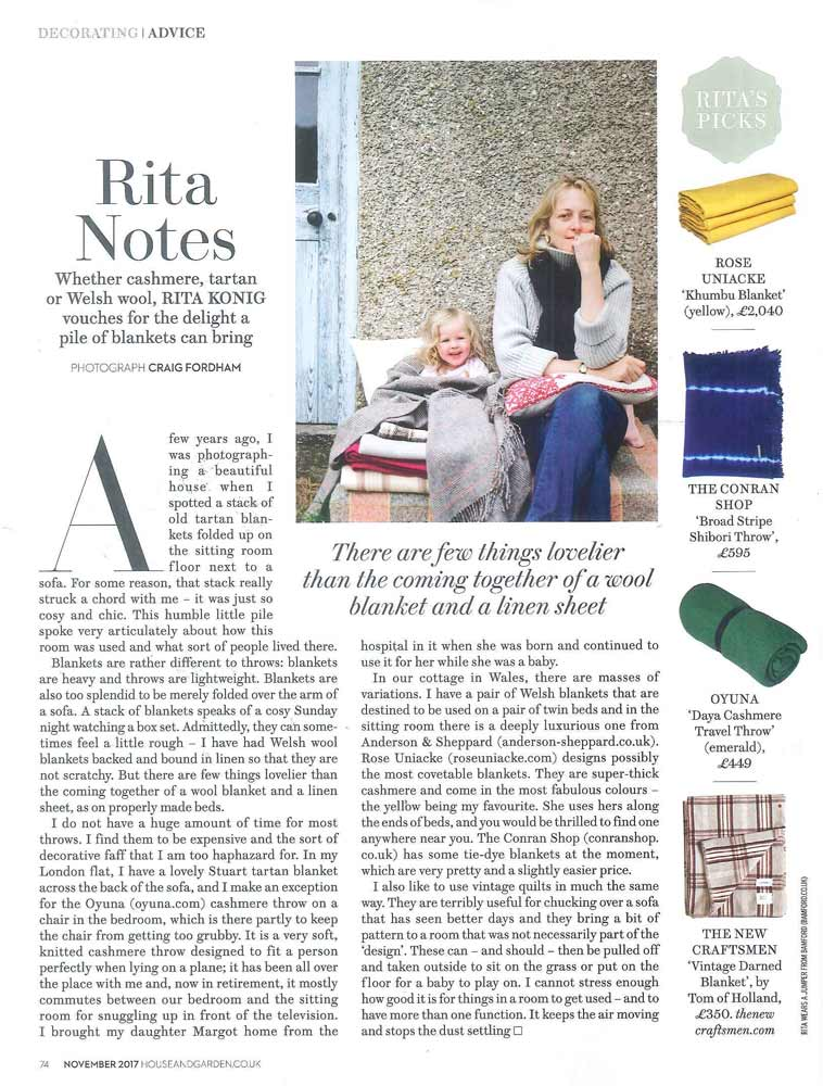 - OYUNA Daya Cashmere Travel Throw featured in House & Garden Magazine.