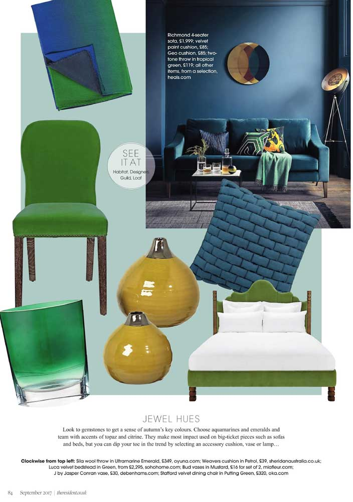 - OYUNA Sila Wool Throw featured in The Resident's 'Jewel Hues' Interior Trends.