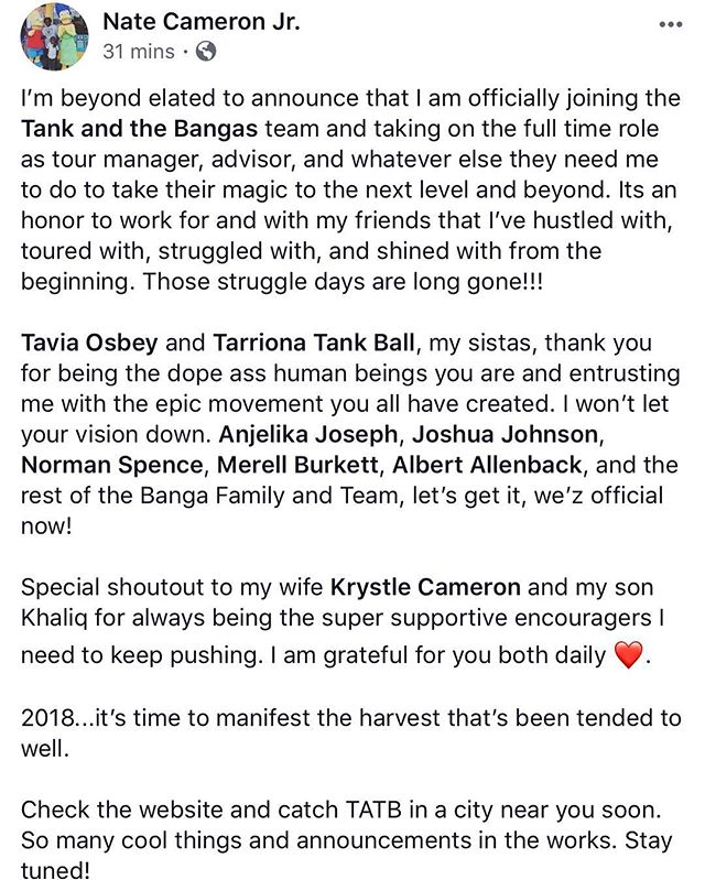 2018...off we go 🚀 @tankandthebangas