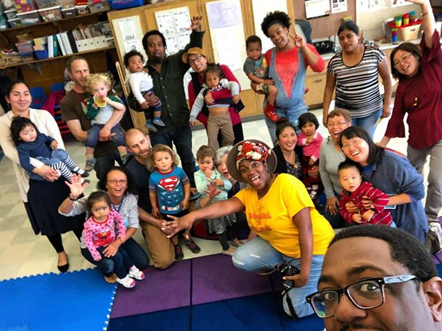 Thank you to the lovely parents, kids, and staff of the Allendale Elementary playgroup in East Oakland for hosting Nkei ( @afrourbansociety ) and I's cultural black rhythms and movement workshop today.