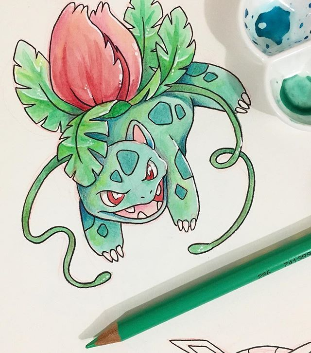 Went back and painted some old line work of my fav #pokemon #ivysaur ❤️❤️❤️ I'm still learning how to push contrast with watercolor, having limited colors makes it a wee difficult, but I love coming back to traditional media (if you couldn't tell it's my fav) . . . . . #watercolor #sketchbook #sketch #illustration #drawing #paper #pen #pencil #gallery #creative #artsagram #instaartist