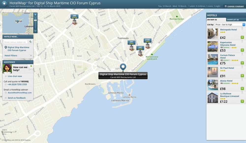 Digital Ship's Maritime CIO Forum Cyprus 2019 HotelMap