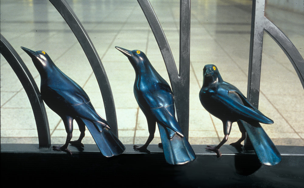 A Gathering, 2001 A permanent public art installation of 181 black birds in the Canal Street Station on the A, E and C lines MTA Arts for Transit