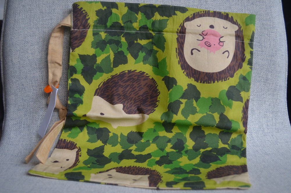 Hedgehog drawstring bag from SewFlo
