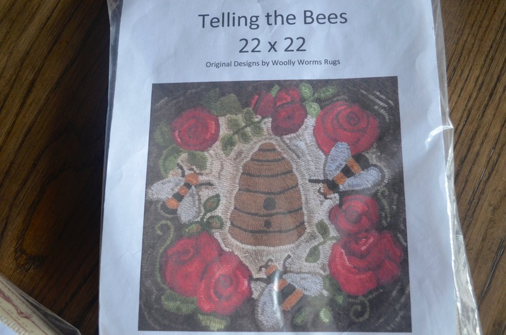Telling the Bees rug hooking pattern from Woolly Worms Rugs