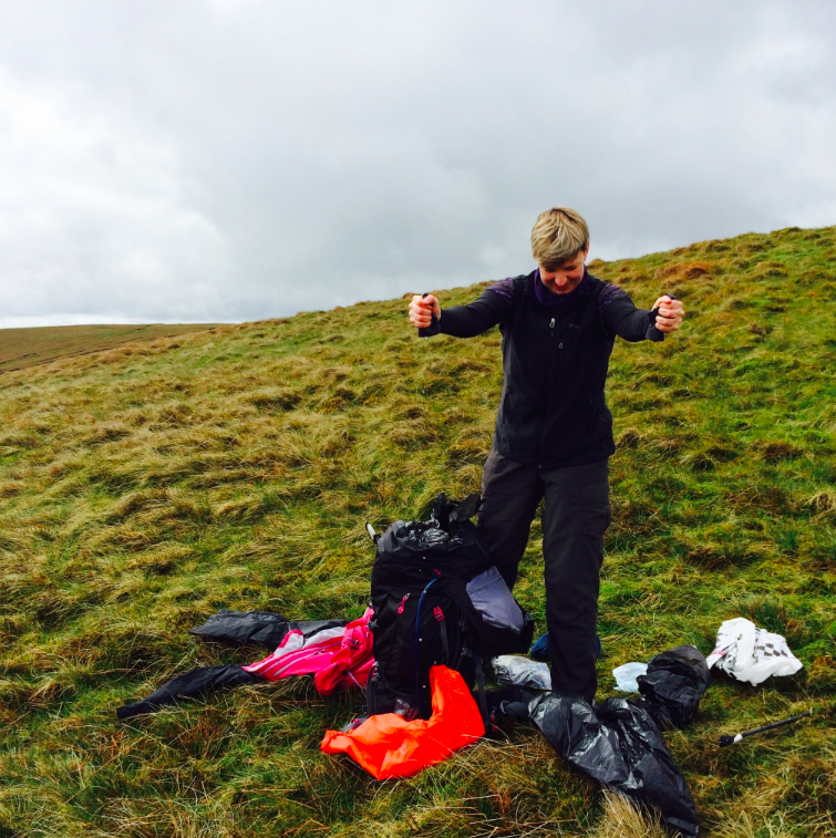 Kathryn Tyler ringing out her gear in the Brecon Beacons!