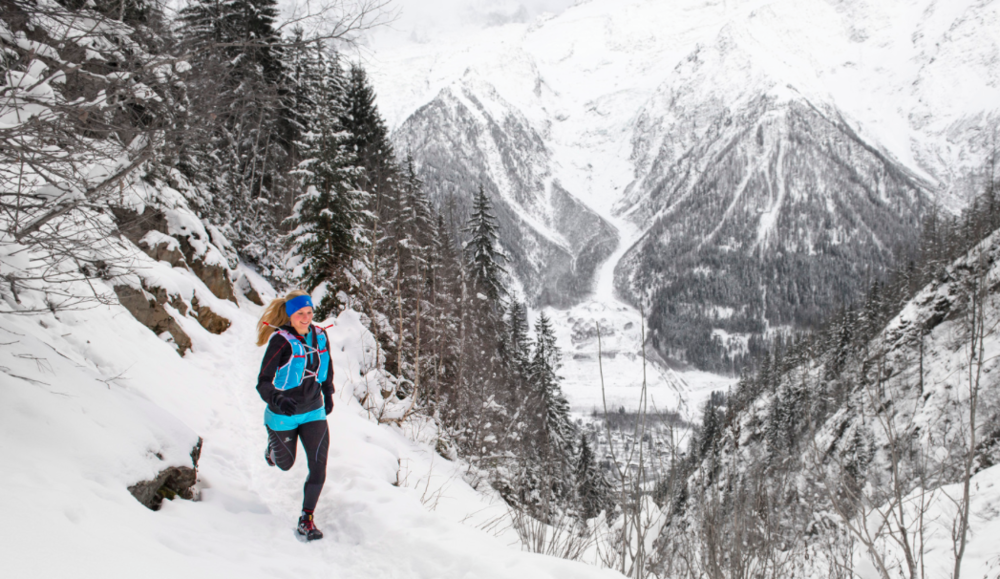 Winter running in the mountains, Alps. Photographer: Daniel Wildey