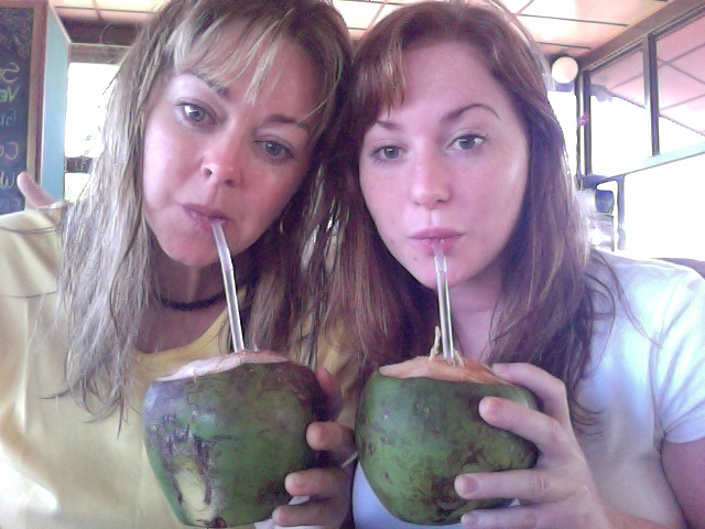 Mom and Jaeda sipping fresh coconut water in Costa Rica 2015!