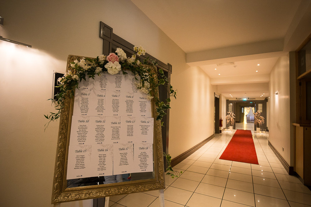 Michelle & David Radisson Blu hotel & Spa Limerick Wedding reception 4.8.2018. Table Plan and red carpet