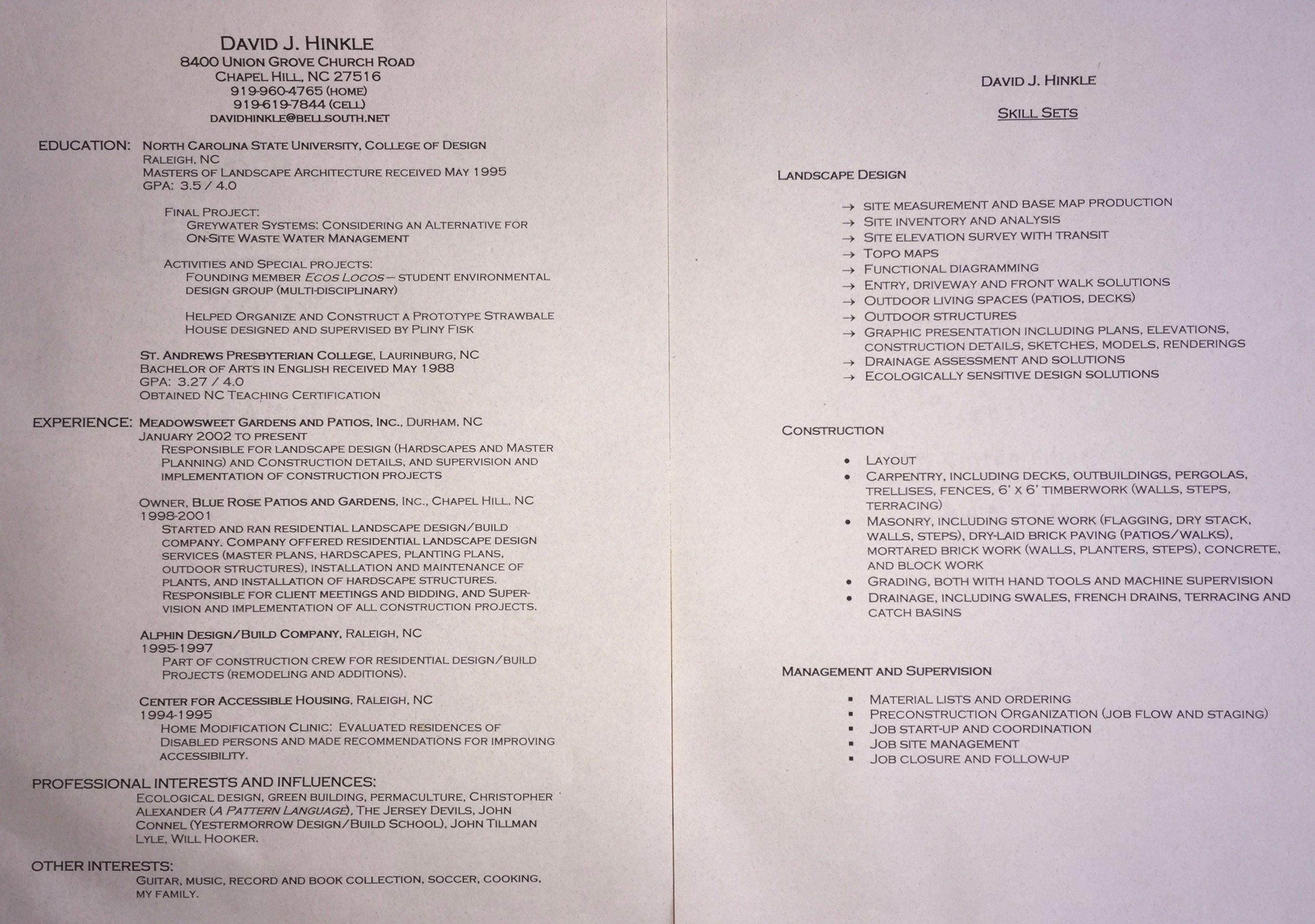 My CV- Resume — Hinkle Outside Design/Build