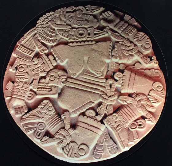 "Coyolxauhqui was the  Moon  goddess according the Aztec mythology. Her name means ""Golden Bells."" She was the daughter of the Earth goddess,  Coatlicue  and the sister of the Sun god, Huitzilopochtli."