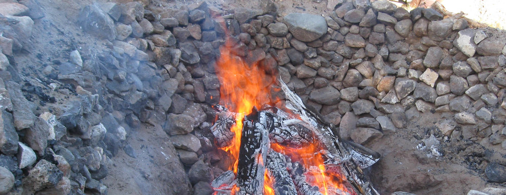 The sacred fire of creation burns the entire 4 days that the Vision Quest Ceremony takes place. Taking turns tending this fire, we work together sending prayers to our relatives.