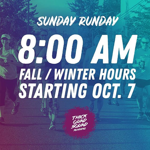 🍂 8:00AM STARTING OCT. 7 ❄️ ⠀⠀⠀⠀⠀⠀⠀⠀⠀ ↓ SUNDAY ALL PACES + SOCIAL RUN ↓ ⠀⠀⠀⠀⠀⠀⠀⠀⠀ 9/23 – 7am (last day of summer hours) 9/30 – MAINE MARATHON, COME CHEER! 10/7 – 8am (fall/winter hours begin) ⠀⠀⠀⠀⠀⠀⠀⠀⠀ #thickquadsquad #runnerscommunity #runfam #yourquadslookgreat #highfivesgoodvibes #runclub #rungroup #runsquad #runcrew #mainerunning #mainemarathon