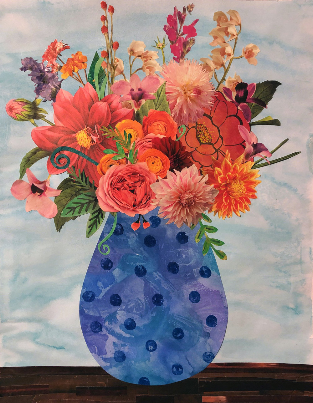 "Vase in Flowers, 16""x20"", Gouache, Paper, Gel Medium (2019)"