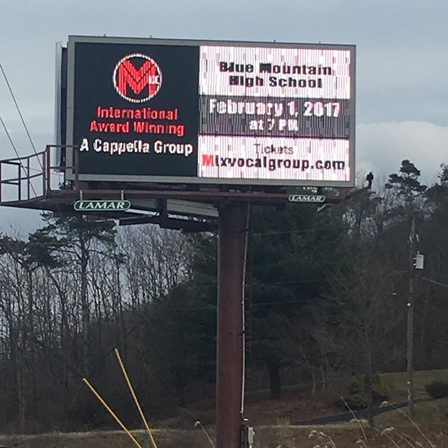 Woah you guys! We on a billboard! Thanks to the Kimmel's for doing this. We'll be at Blue Mountain High School tonight! #madeit #patakeovertour #acapella #acappella #mixvocalgroup #pennsylvania