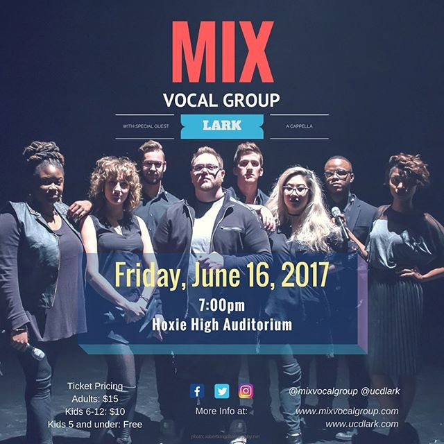 Our next show is at Hoxie High school with our sister group, @ucdlark ! #mixvocalgroup #acapella #acappella #hoxie