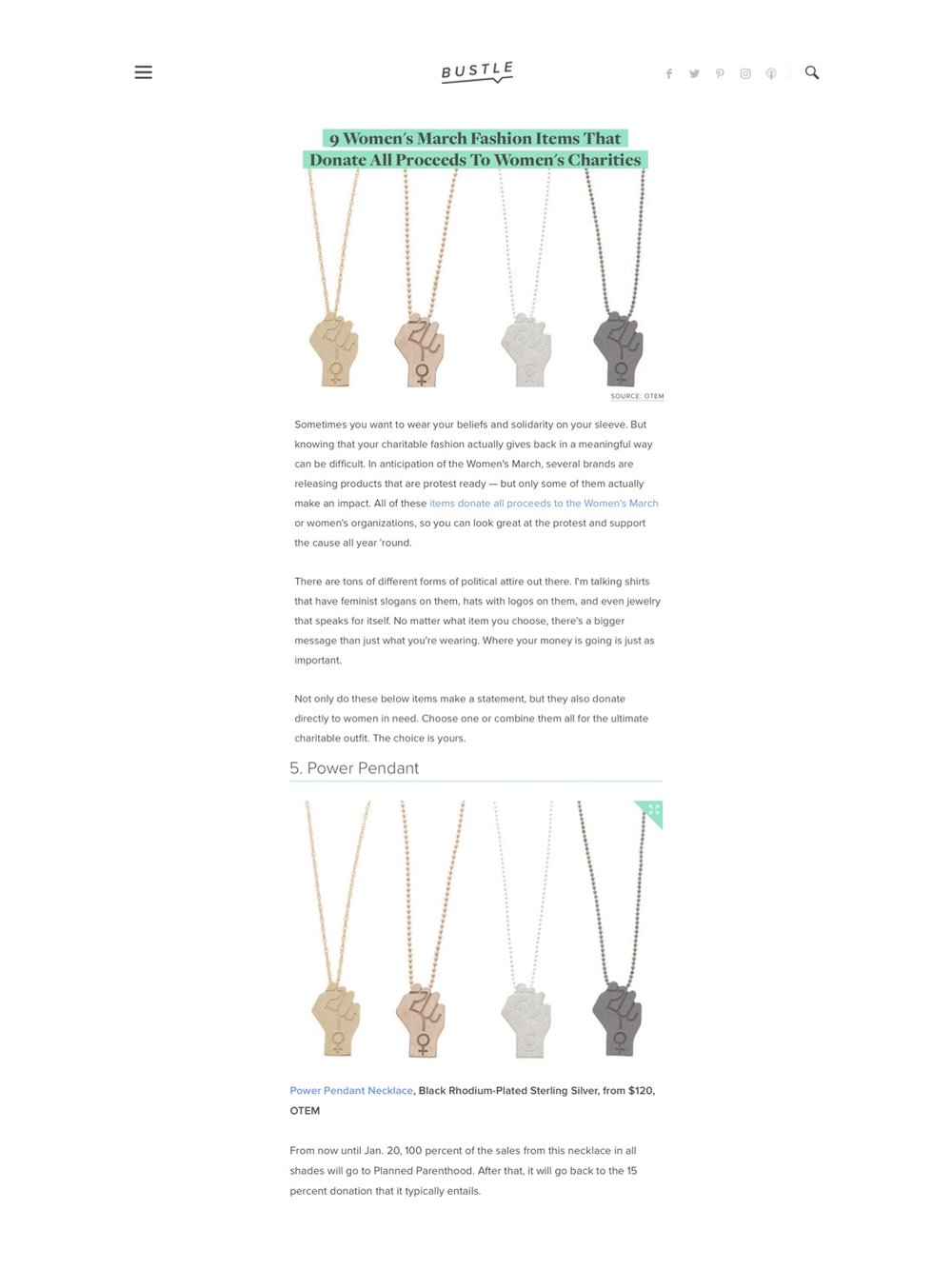 """""""Power Pendant""""necklace featured on Bustle magazine."""