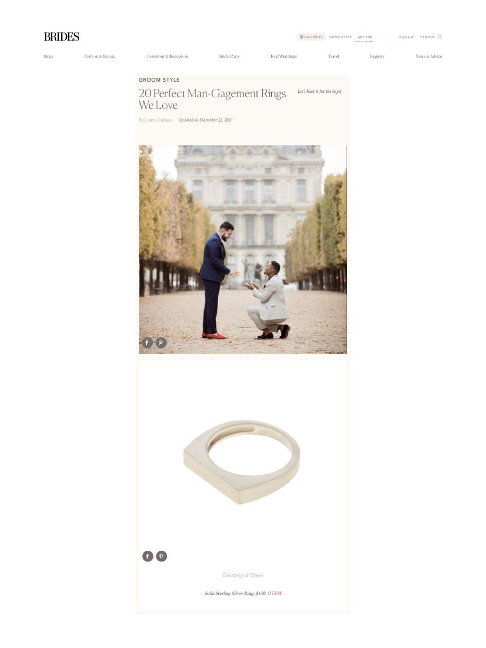 """Man-Gagement """"Sterling Silver ring"""" featured on Brides magazine."""