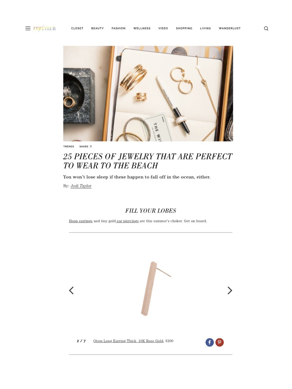 """""""Long Earring Thick"""" rose gold featured on Coveteur magazine."""