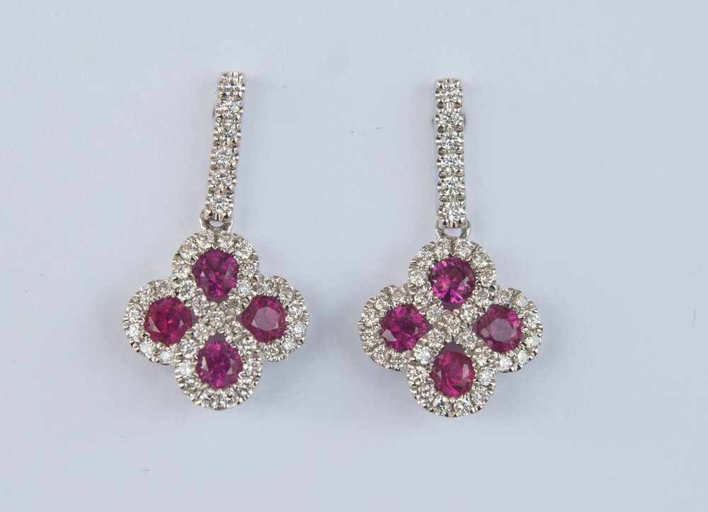 14 Karat White Gold Drop Earrings With 8= Round Rubys And Round Diamonds $1,315.00