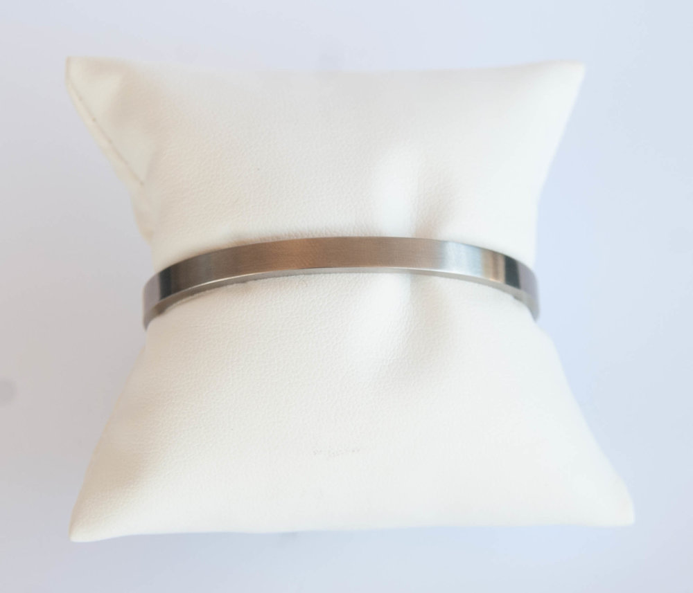 Stainless Steel Silver Finish Hinged Bangle $45.00