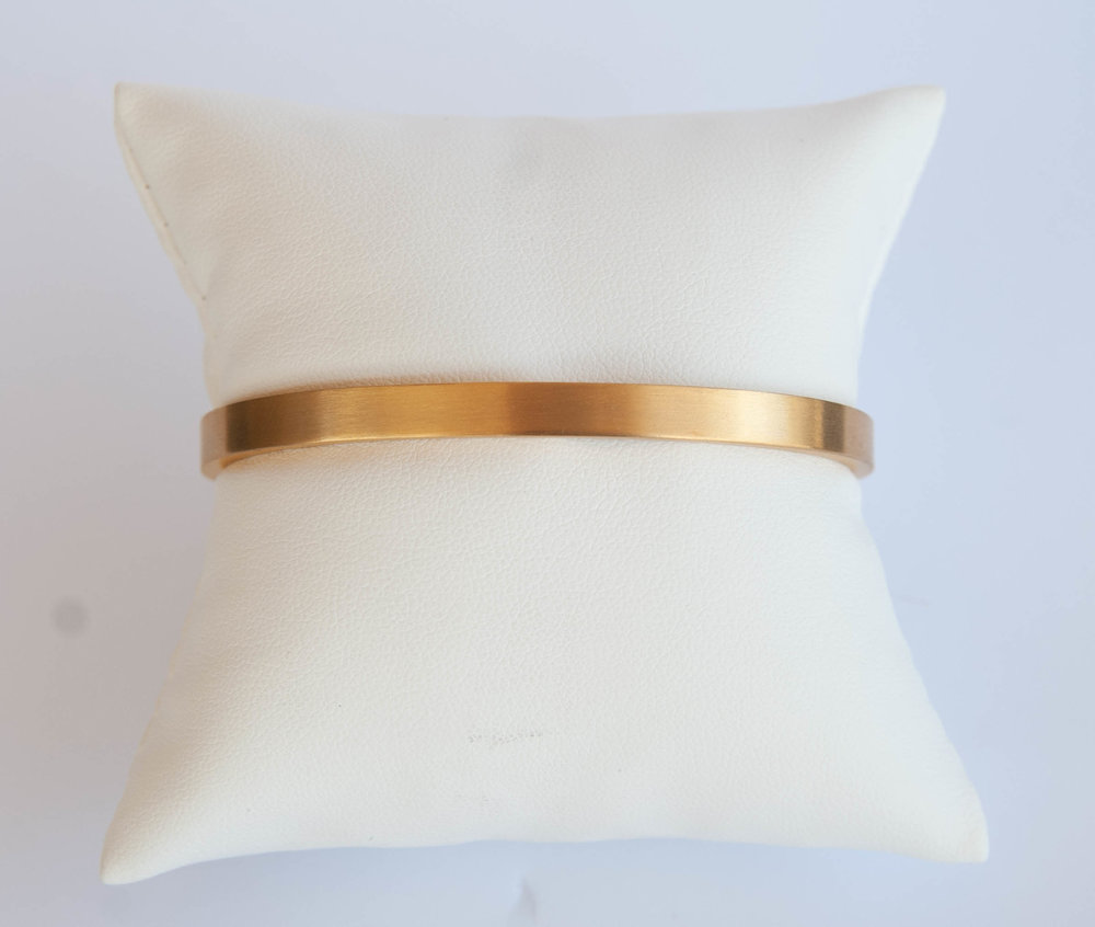 Stainless Steel Gold Finish Hinged Bangle $45.00