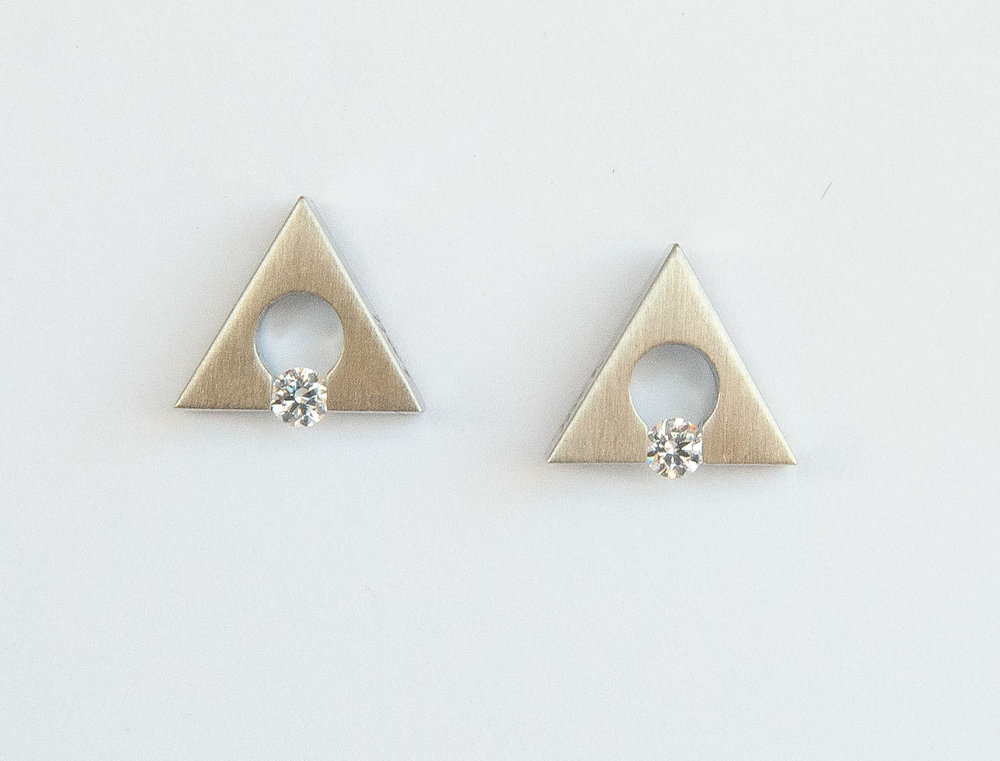 Stainless Steel Silver Finish Triangle Earrings With 2= Round Cubic Zirconium $105.00
