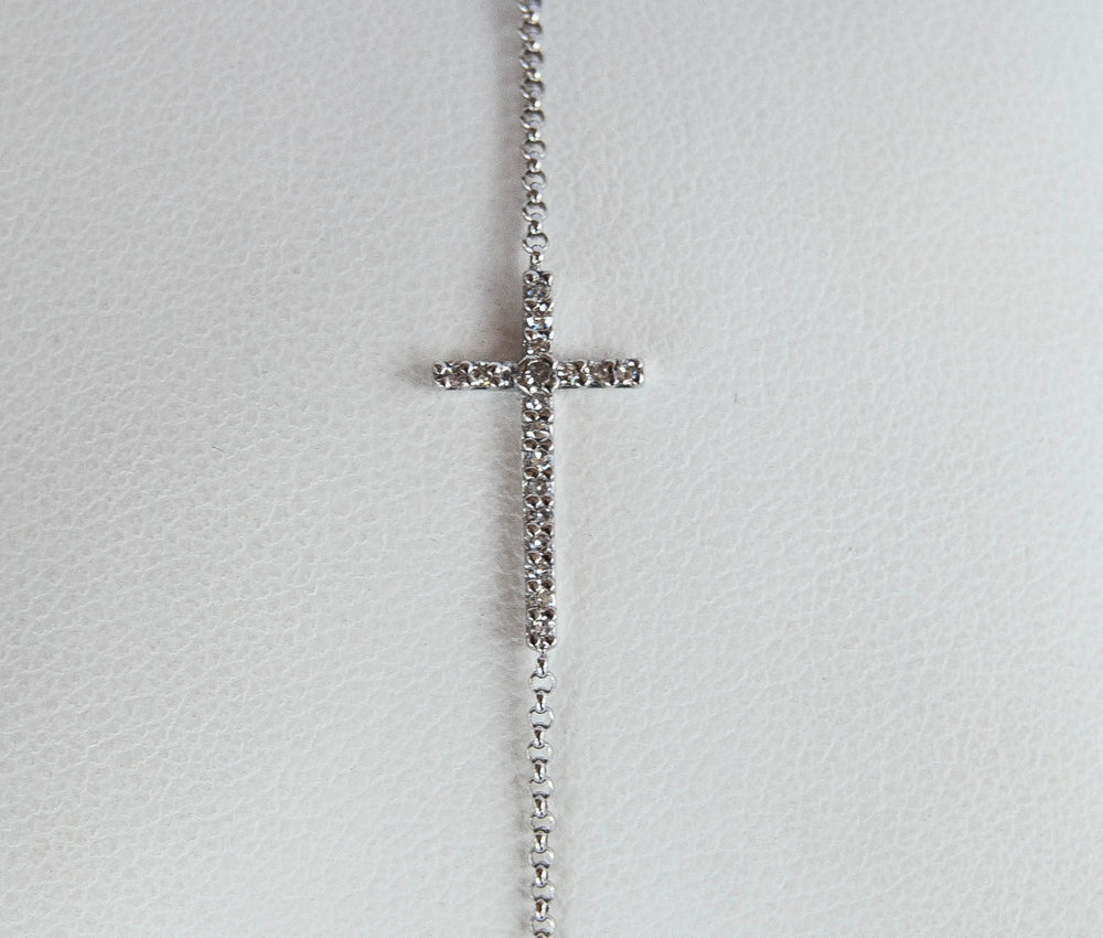 170-35 14 karat white gold Cross Bracelet Length 7 With 0.10Tw Round Diamonds $588.00