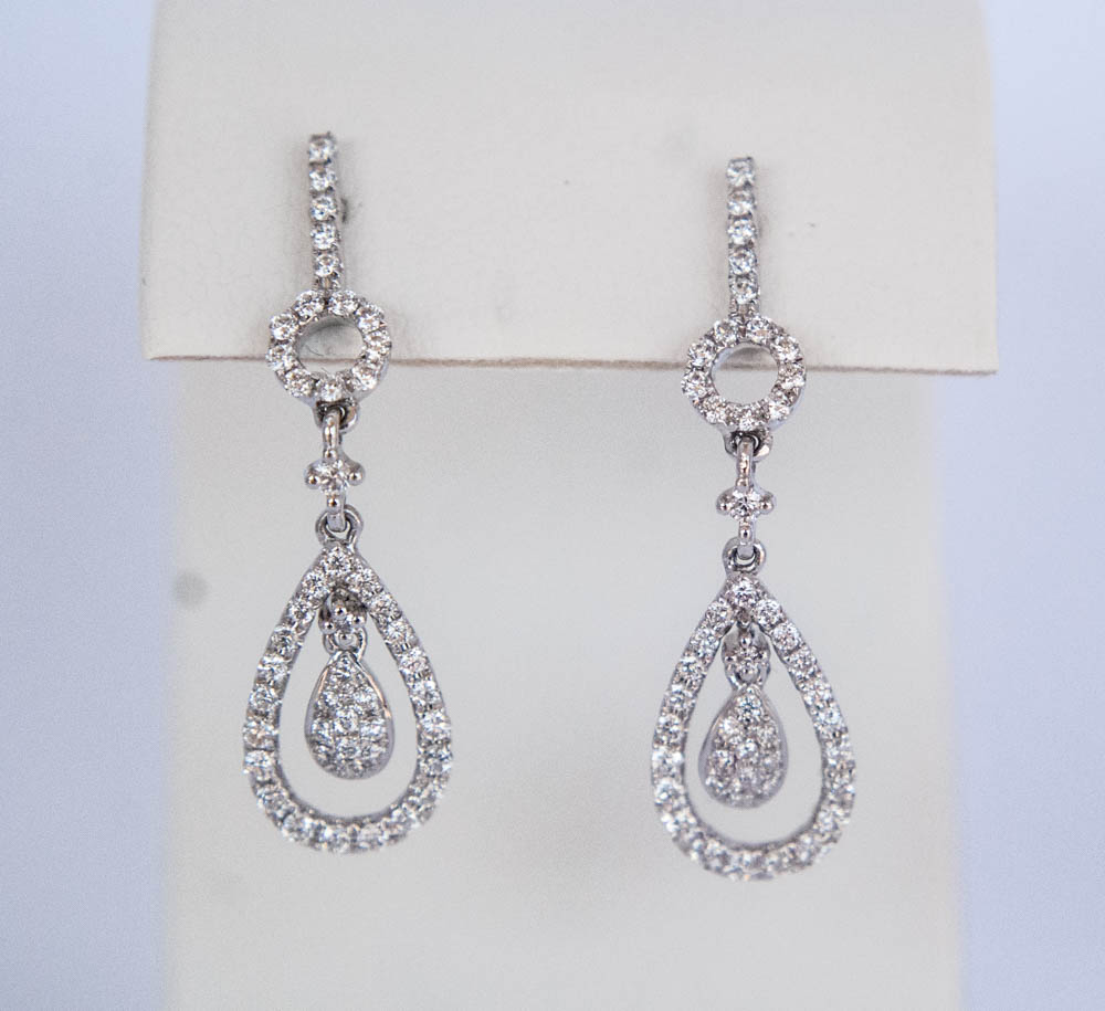 150-463 14 Karat White Gold Drop Earrings With 0.83Tw Round Diamond $1,918.00