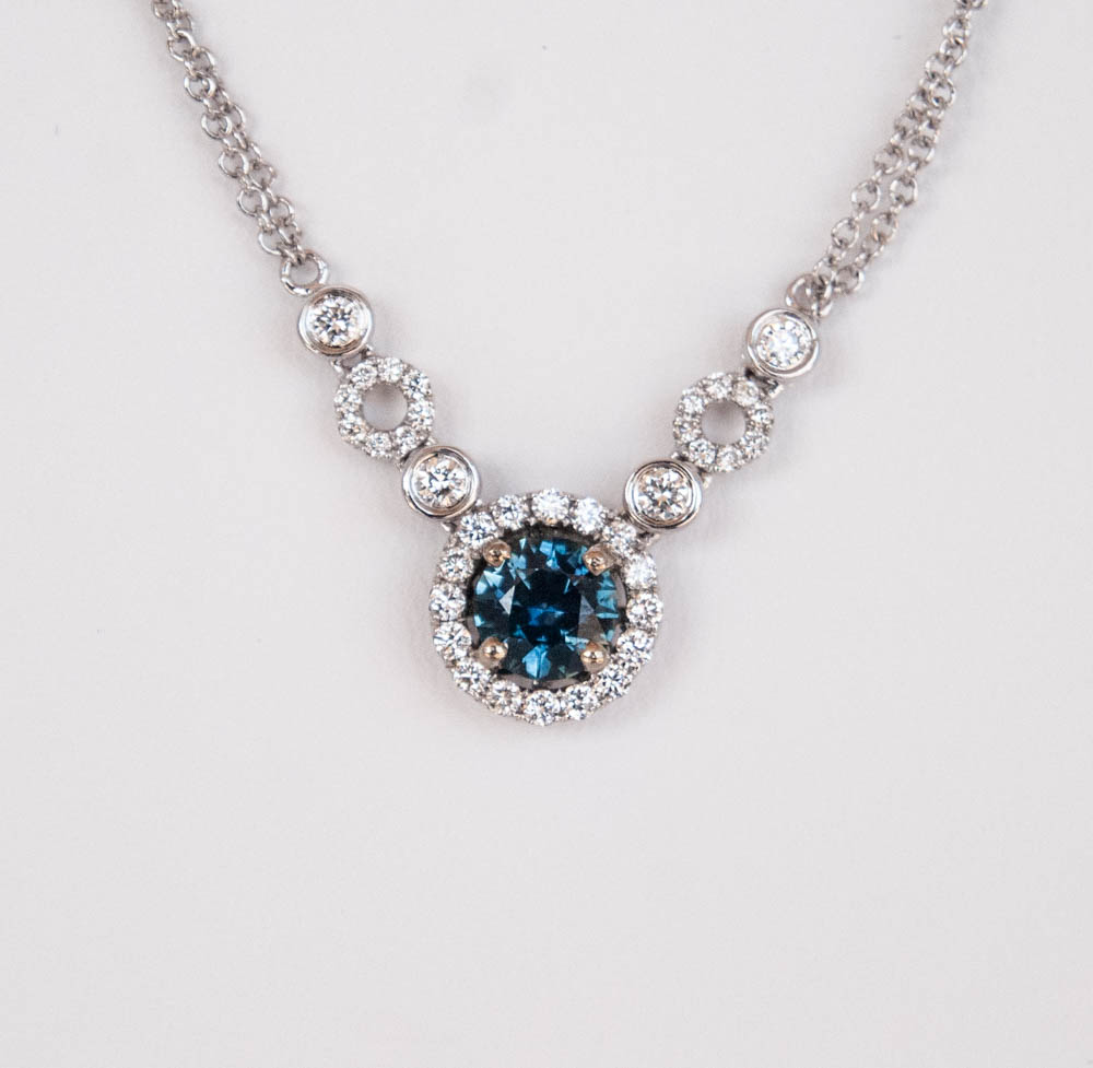 235-58 14 Karat White Gold Necklace Length 18 With One 0.73Ct Round MT Sapphire And 0.48Tw Round Diamonds $2,635.00