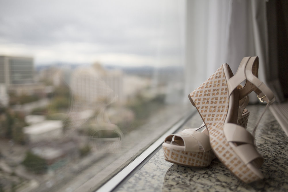 Shoes with a view - wedge heels are definitely more stable than stilettos for the aisle!