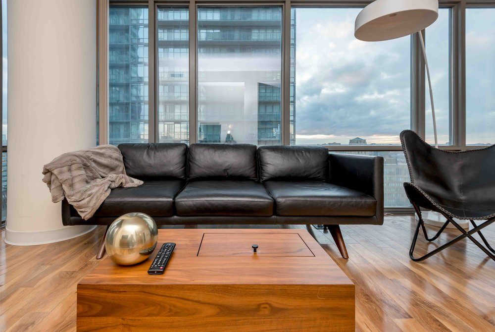 College furnished condo sofa, leather