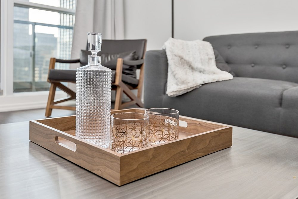 Downtown Furnished Condo - Coffee Table, Bar
