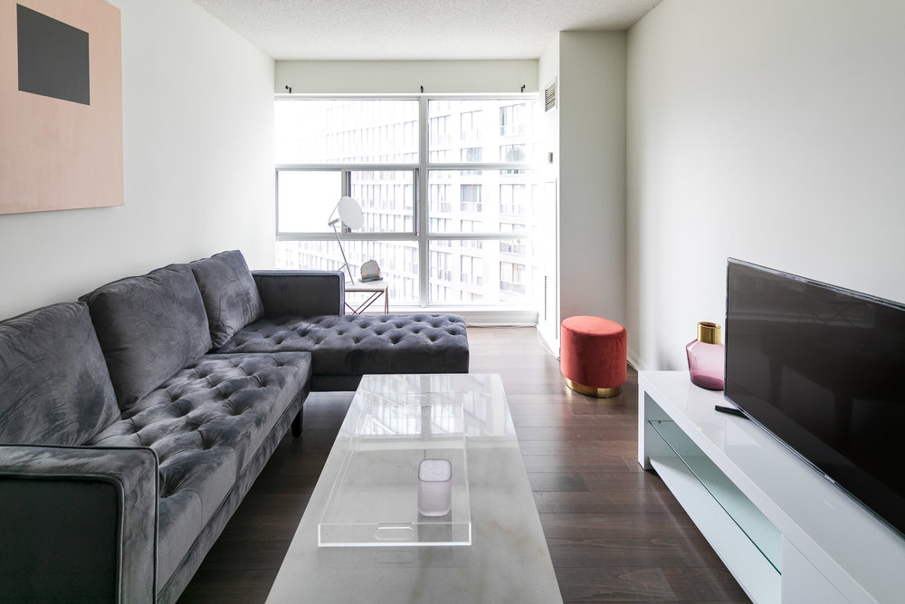 How to take photos of Furnished Apartments Toronto living room