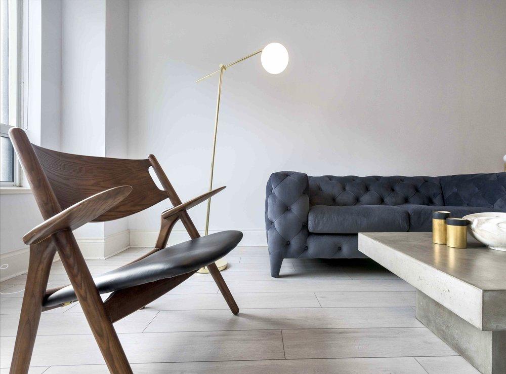 furnished apartment lamp, sofa