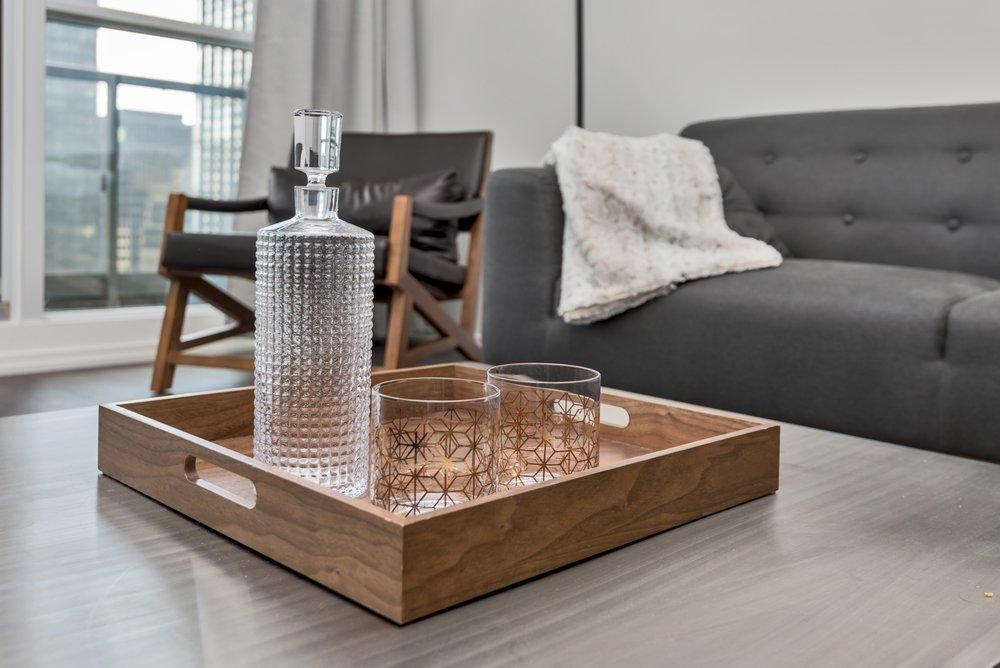 Furnished condo, sofa, coffee table