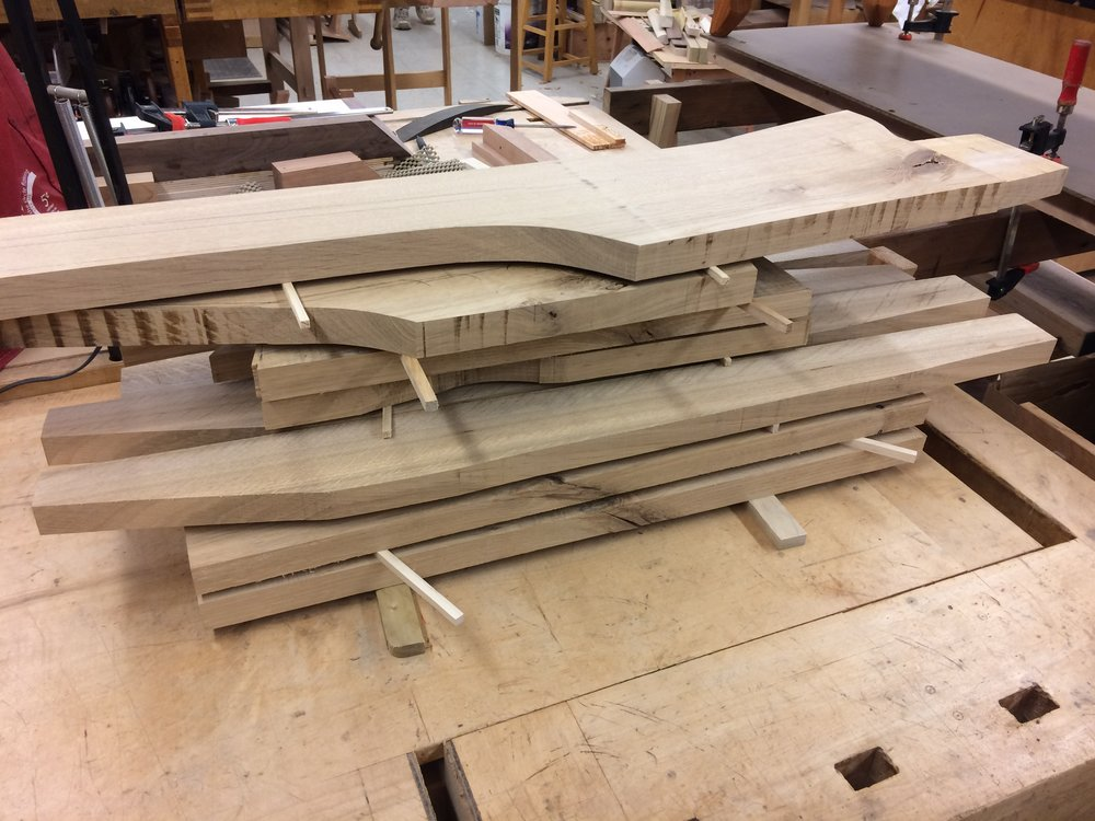 Pieces are rough sawn and stickered as I allow the internal stresses to relieve and wait for any warping or twisting to happen before working them further.