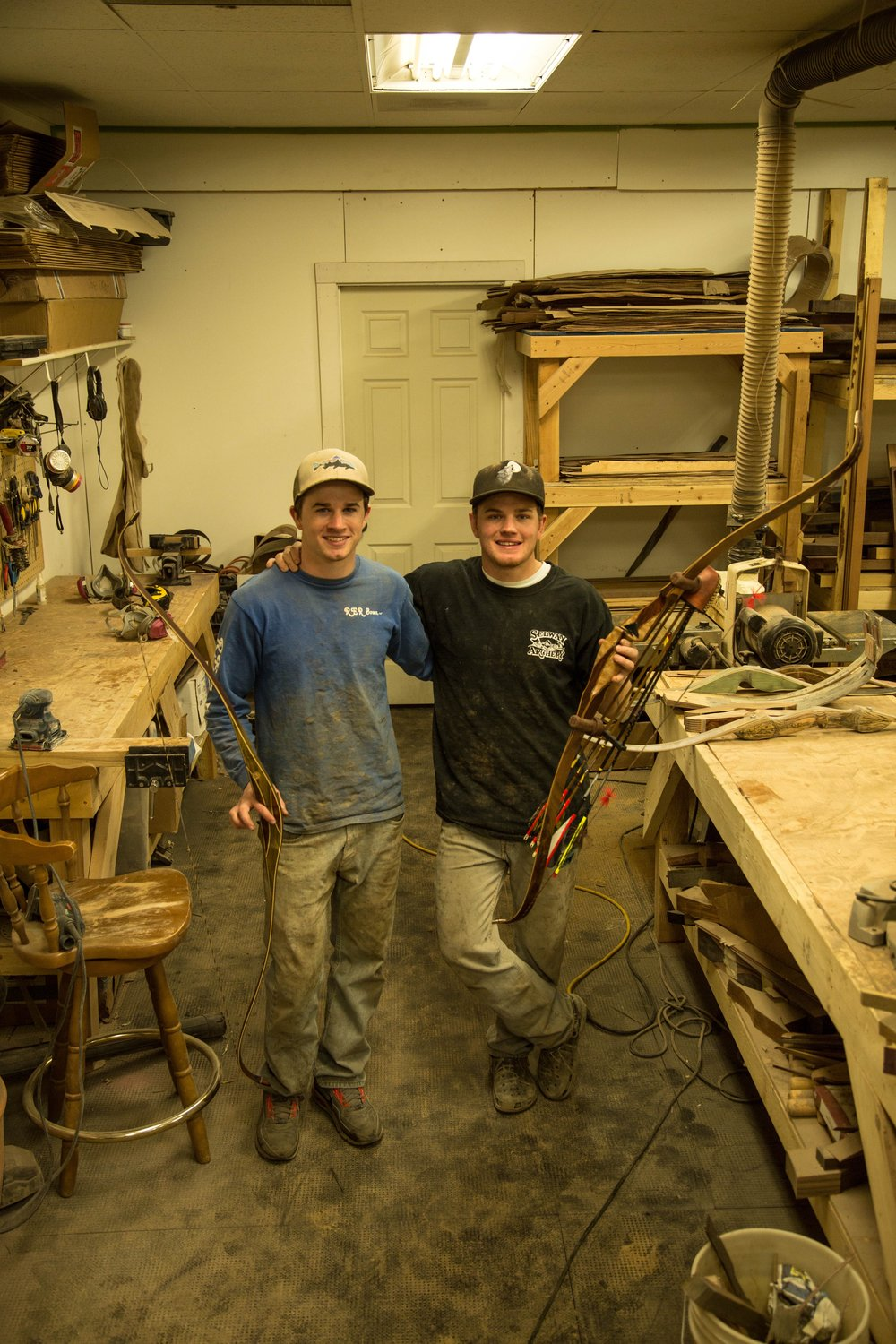 Right at home in their bowyer shop:  Ike (left) and Chester (right) Floyd - brother co-owners of RER Bows in Bozeman, MT